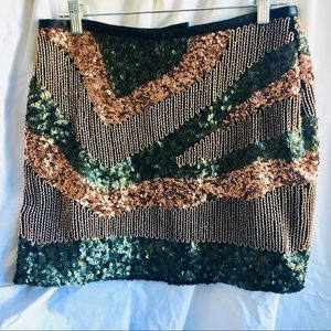 H&M Green and Gold Sequined Mini Skirt Size 8
